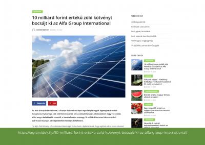 Agrárvidék - 10 mrd forint értékű zöld kötvényt bocsájt ki az Alfa Group International