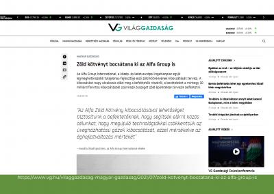 Világgazdaság - Zöld kötvényt bocsátana ki az Alfa Group is