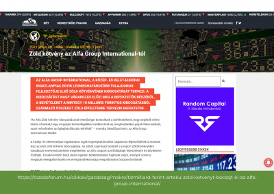 Tőzsdefórum - Zöld kötvény az Alfa Group International-tól