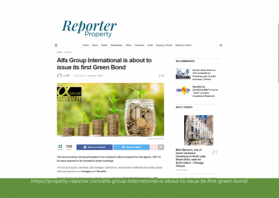 Property Reporter - Alfa Group International is about to issue its first Green Bond
