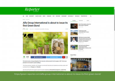 Green Reporter - Alfa Group International is about to issue its first Green Bond