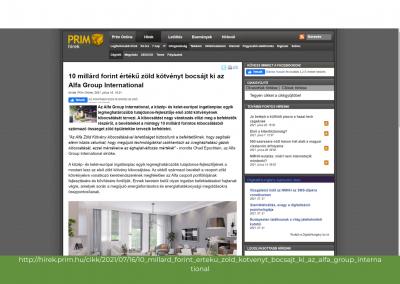 Prim Online - 10 mrd forint értékű zöld kötvényt bocsájt ki az Alfa Group