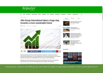 Green Reporter - Alfa Group International takes a huge step towards a more sustainable future